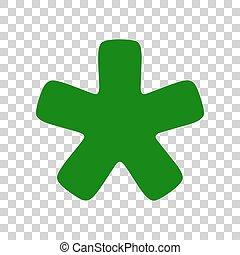 étoile, signe., astérisque, sombre, arrière-plan., vert, transparent, icône