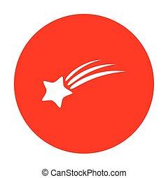 étoile, signe., blanc, tir, circle., rouges, icône