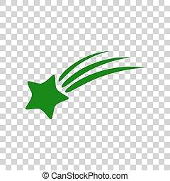 étoile, signe., sombre, arrière-plan., vert, tir, transparent, icône