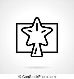 étoile, simple, vecteur, noir, ligne, noël, icône