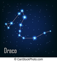""", étoile, sky., illustration, draco"", vecteur, nuit, constellation"