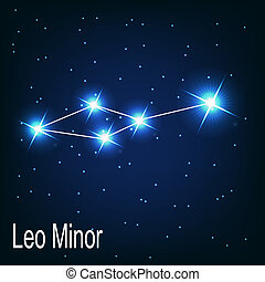 "étoile, sky., illustration, vecteur, minor"", nuit, ""leo, ..."