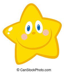 étoile, sourire, caractère, dessin animé