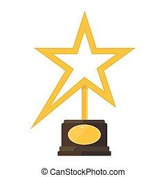 étoile, statuette, or, récompense