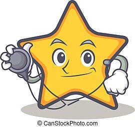 étoile, style, caractère, dessin animé, docteur