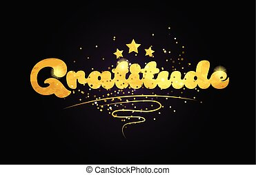 étoile, texte, logo, gratitude, doré, couleur, mot, icône