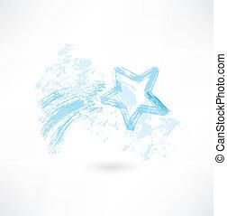 étoile, tir, grunge, icône