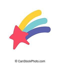 étoile, tir, magie, isolé, arc-en-ciel, conception, icône