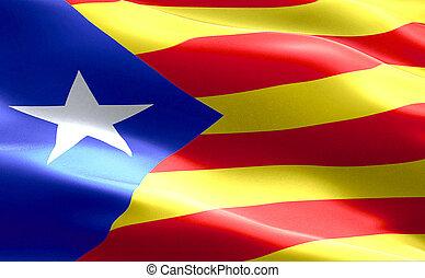 étoile, tissu, separatism, national, jaune rouge, onduler, catalan, drapeau, fond, espagne, texture, bande, vote, symbole, indépendance, catalogne