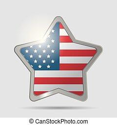 étoile, usa, symbole, drapeau, lustré, emblème, image