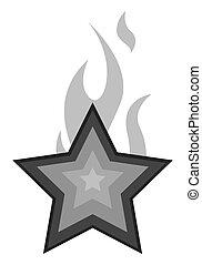 étoile, vecteur, flamme, retro
