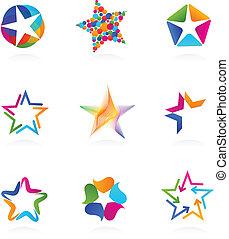 étoile, vecteur, icônes, collection