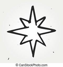 étoile, vecteur, main, dessiné