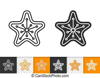 étoile, vecteur, petit gâteau, pain épice, ligne, noël, icône