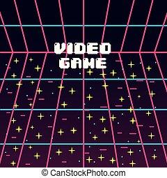 étoile, vendange, écran, jeu, vidéo, image