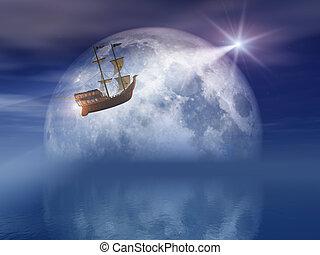 étoile, voile, lumière, sur, mer lune, nuit
