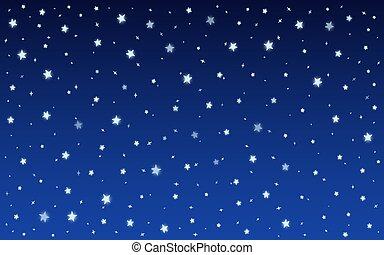 étoiles, bleu, nuit, vecteur, éclat, fond, neige