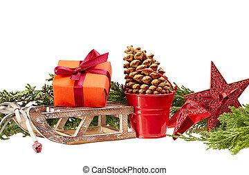 étoiles, bucket), fond, décoration, isolé, blanc, bois, noël, (gift, boîte, traîneau, métal