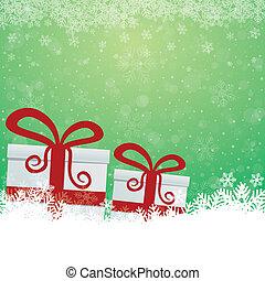 étoiles, cadeau, neige vert, fond, blanc