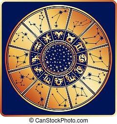 étoiles, circle., signe, zodiaque, constellations, horoscope