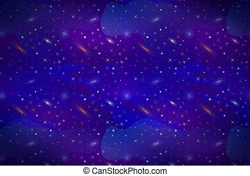 étoiles, coloré, espace, lotissements, fond, profond, galacticas, dessin animé