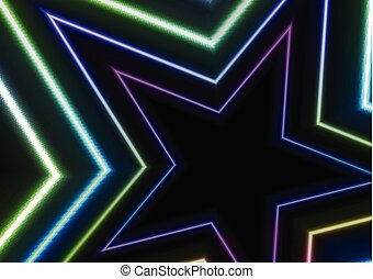 étoiles, coloré, résumé, néon, incandescent, fond