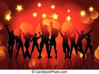 étoiles, gens, danse, silhouettes, lumières, bokeh, fond, 1412