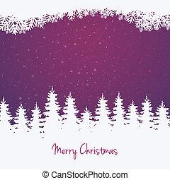 étoiles, hiver arbre, fond, neige