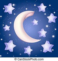 étoiles, illustration, lune