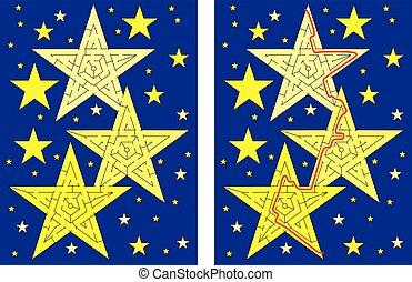 étoiles, labyrinthe