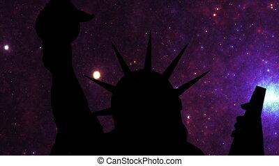 étoiles, liberté, nuit, statue, contre