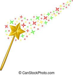 étoiles, magie, ruisseau, baguette