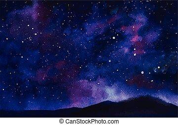 étoiles, nébuleuse, espace, aquarelle, constellation, vecteur, fond