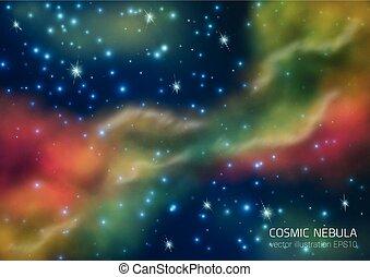 étoiles, nebula., fond, espace