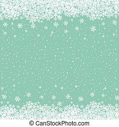 étoiles, neige vert, fond, snowflake blanc