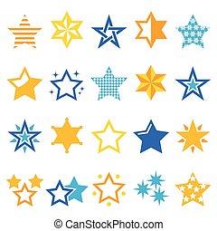 étoiles, or, bleu, vecteur, icônes
