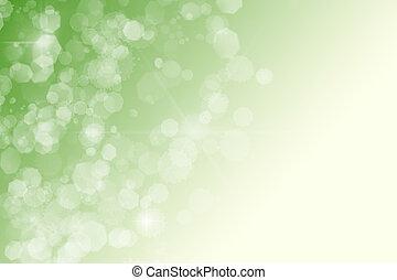 étoiles, résumé, bokeh, arrière-plan vert, scintillements, blanc