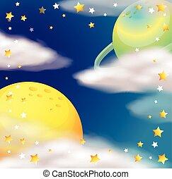 étoiles, scène, planètes, espace