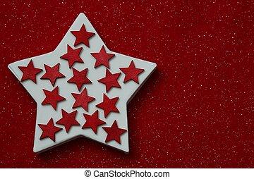 étoiles, sur, rouges, feutre, fond