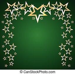 étoiles, vecteur, vert, or, fond