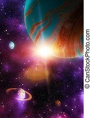 étranger, 3d, planète, espace