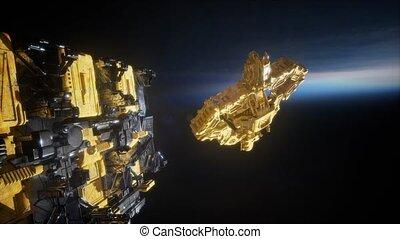 étranger, armada, nearing, vaisseau spatial, la terre