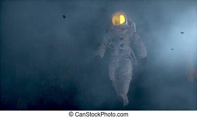 étranger, astronaute, brumeux, animation., cg, marche, planet.
