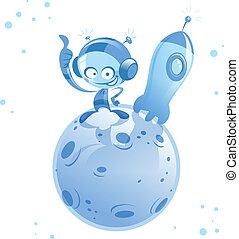 étranger, fusée, astronaute, espace, planète, petit, dessin animé, heureux