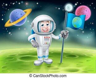 étranger, lune, astronaute, scène, dessin animé