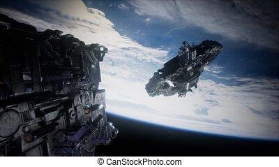étranger, nearing, la terre, armada, vaisseau spatial