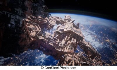 étranger, nearing, vaisseau spatial, la terre, armada