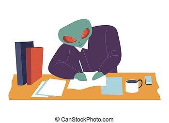 étranger, patron, travail, caractère, writting, papier, ...
