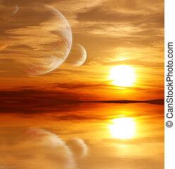 étranger, planète, coucher soleil