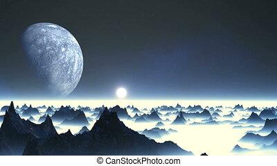 étranger, planète, sur, levers de soleil